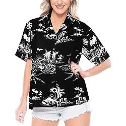 LA LEELA botón de la Camisa Ropa de Playa Impresa Hawaiano de la Mujer Mangas Cortas Aloha Cuello de natación Ocasional M-ES Tamaño: 44-46 Halloween Negro_X112
