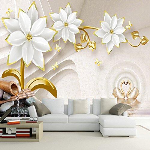 MuralXW Tapete Gold Schmuck Blume 3D Relief Wohnzimmer TV Hintergrund Wandmalereien Wohnkultur Tapete Wandbild 3D-280x200cm