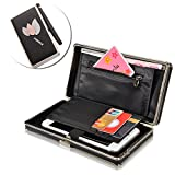 PU Cuir Coque [Grande Capacité],Vandot Femmes Fashion Universal Portefeuille Wallet Sac de Fête Élégant Purse avec Carte de Crédit Slots et Motif Feuilles Décoration Handbag 3D Leaves Pattern Case Party Bag Passport Cover Driver's License Folder Housse avec Fermeture à Fermoir Zippé Etui pour Wiko Robby/ U Feel/wiko lenny 4 3 2,Wiko View Prime/Sunny/U Pulse Lite/WIM lite/Fever SE/9592 9592 9593 9594/Pulp/Bloom/Feddy 3G/4G etc. - Feuilles (Noir)