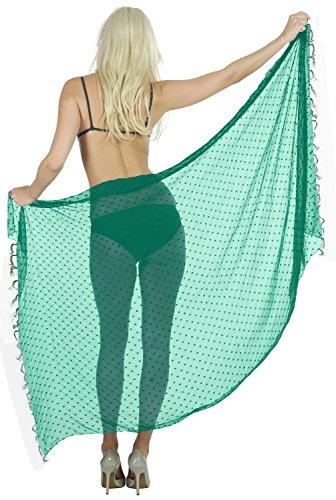 LA LEELA Designer schwimmen super leicht schiere Chiffon Sarong 72x42 Zoll grün