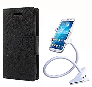 Aart Fancy Diary Card Wallet Flip Case Back Cover For Samsung Note 3 -(Black) + 360 Rotating Bed Tablet Moblie Phone Holder Universal Car Holder Stand Lazy Bed Desktop for by Aart store.