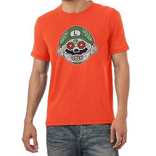 Super Kostüm Luigi Maker Mario - NERDO - Mexican Luigi - Herren T-Shirt, Größe XL, orange