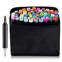TOUCHNEW 60 Set Color Marker Pen Set Drawing Painting Art Dual Tip Sketch Pen Art Sketch Twin Tip Design with Carry Bag(Comic Selection) (60 Set, Black)-Lightwish
