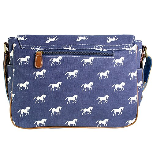 Miss Lulu tela gufo, farfalla, elefante, cavallo, cupcake pattern design Satchel saddle messenger a tracolla in tela cerata e - Horse Navy (Canvas)