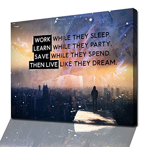 """Mindset-Wandbild für Erfolg & Motivation -""""LIVE LIKE THEY DREAM"""" – Modernes XXL Leinwand-Bild mit Motivationspruch und Selbstmotivation"""
