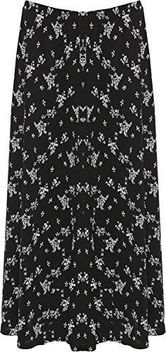 WEARALL Femmes Plus Élastiquée Jupe Dames Étendue Taille Floral Imprimer Midi Longueue Longueueur - Noir Blanc - 52-54