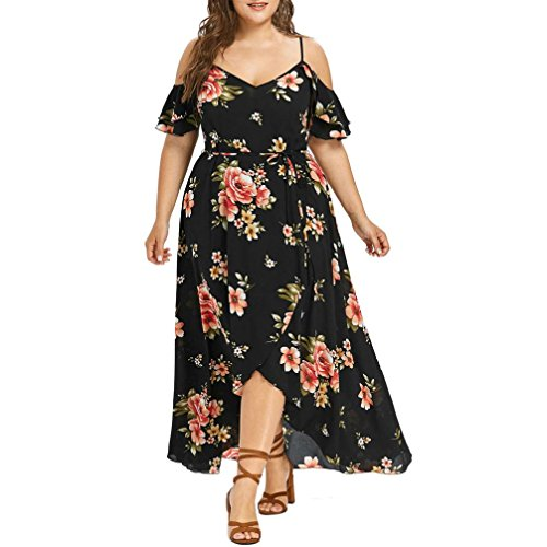 Trada Sommerkleid, Plus Size Frauen Casual Kurzarm Cold Shoulder Boho Blumendruck Langes Kleid Unregelmäßiges Kleid Cocktailkleid Reizvolle Beach Maxikleid Casual Tunic Mini Dress (L, ()