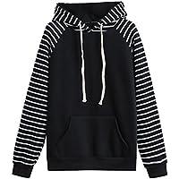 Damen Kapuzenpullover Langarm Hoodie Pullover Ronamick Fraue Striped Hooded Sweatshirt mit Kaputze Kapuzenpullis Pulli Hoodys Schwarz