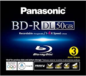 Panasonic LM-BR50LWE3 Blu-Ray (4x Speed, Inkjet Printable 50 GB, 3er Pack)