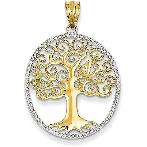 Al rodio e in oro 14 kt, design a filigrana, a forma di albero della vita