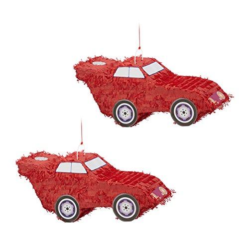 (Relaxdays 2er Set Pinata Auto, zum Aufhängen, Kinder, Jungs, Geburtstag, zum Befüllen, Partyspiel, HxBxT: 24 x 52 x 18 cm, rot)