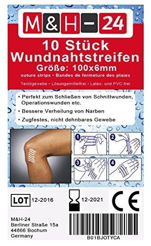 10er Set Wundnahtstreifen-Strips / Klammerpflaster Nahtmaterial Wundverschluss-Streifen Steril 6 x 102 mm