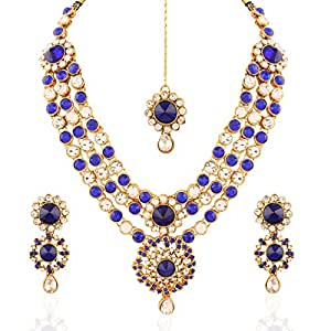 I Jewels Traditional Gold Plated Stone Necklace Set With Maang Tikka For Women (Blue) (Ij249Bl)