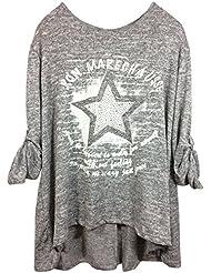 Damen T-Shirt Longshirt mit div. Druckmotiven und Nieten- oder Pailetten-Besatz in komfortablem Viskose/Elasthan-Mix, MADE IN ITALY