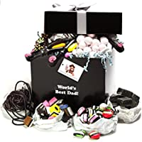 Worlds Best Dad - Retro Liquorice Hamper (Classic Black Hamper With Silver Ribbon And Free Gift Tag) by Treasure Island Sweets