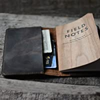 "Leather Journal Cover for Field Notes Moleskine Cahier Notebook Pocket size 3.5"" x 5.5"" Vintage Refillable Notepad Dark Brown"