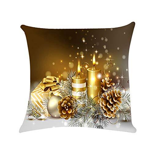 SDJBZ Happy Christmas Kissenbezüge Sofa Kissenbezug Home Decor Kissenbezug Weihnachtsschmuck Für Zu Hause 45 cm * 45 cm