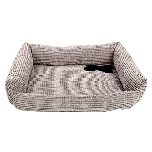 Lvrao cuscino casa letto per cani e gatti rettangolare caldo morbido cuccia a casa cuscini divano per animale (grigio, s: 45 * 35 * 10cm)