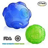 Spielzeug für Hunde, Lauva interaktives Quietsch Spielzeug aus langlebiegen Gummi, Trainigs und Spiel Bälle für kleine, mittelgroße und große Hunde (blau und grün)