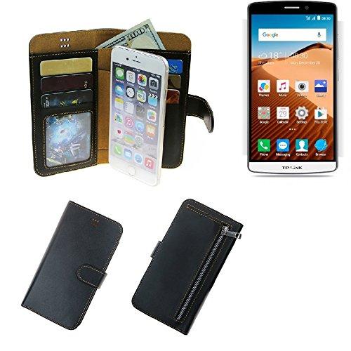 K-S-Trade Für TP-LINK Neffos C5 Max Portemonnaie Schutz Hülle schwarz aus Kunstleder Walletcase Smartphone Tasche für TP-LINK Neffos C5 Max - vollwertige Geldbörse mit Handyschutz