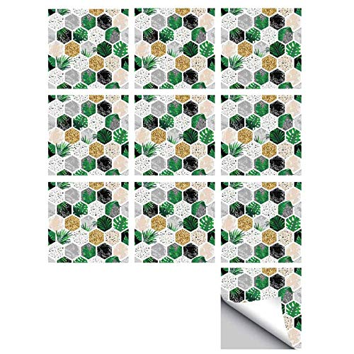 Tile Sticker Kitchen Backsplash Tiles Peel und Stick Wall Sticker Geometric Diamond Mosaic Hard Tiles Wall Art Deco (10 Stücke),15 * 15CM