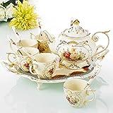 Panbado, Porzellan Kaffeeservice Set, 14 teilig, Cremefarbe, mit 6 Kaffeetassen, 6 Löffel, 1200 ml Kaffeekanne und Servierplatte