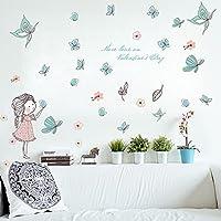 Wallpark Dibujos animados Lindo Niña Liberando Mariposa Desmontable Pegatinas de Pared Etiqueta de la Pared, Bebé Niños Hogar Infantiles Dormitorio Vivero DIY Decorativas Adhesivo Arte Murales