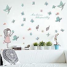 wallpark dibujos animados lindo nia liberando mariposa desmontable pegatinas de pared etiqueta de la pared