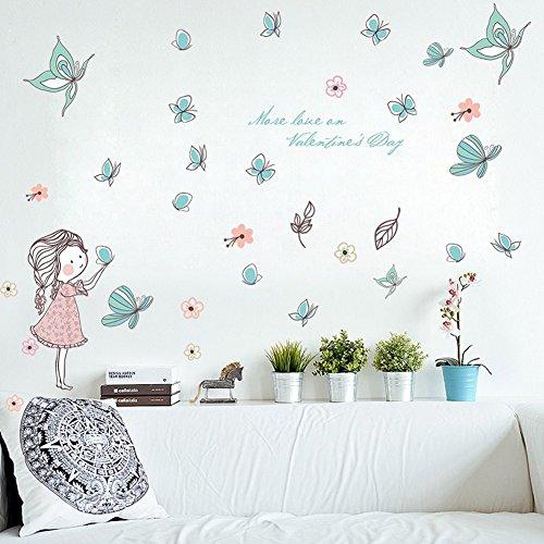 Wallpark Dibujos animados Lindo Niña Liberando Mariposa Desmontable Pegatinas de Pared Etiqueta...