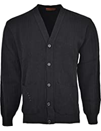 d0ffe8384d8e85 Mens Knitted Cardigan Classic Style Cardigans V Neck Button Jumper Plain  Coloured