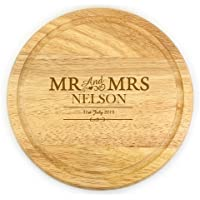 Personalised Engraved Mr & Mrs Round Wooden Chopping Board - Anniversary, Wedding Gift Bride Groom by The Magical Gift Shop (TMGS)