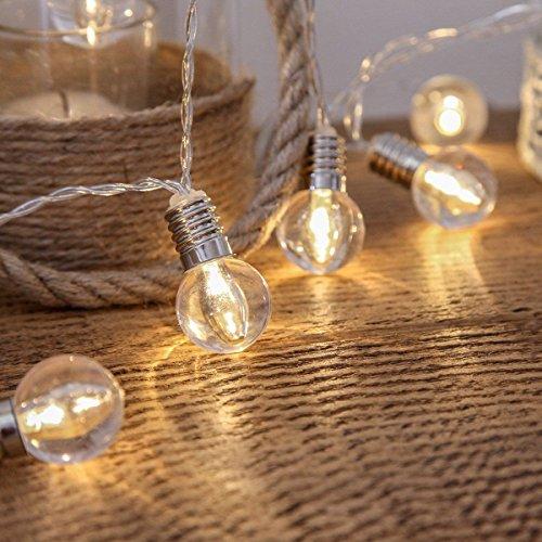 KEEDA LED Globe Lichterkette Warmweiß mit 10pcs Globe Birnen, Batteriebetrieben Beleuchtung Kugel, Außen Lichterkette, Weihnachtsbeleuchtung, Außenbeleuchtung , Deko Glühbirne Lichterketten (Warmweiß)