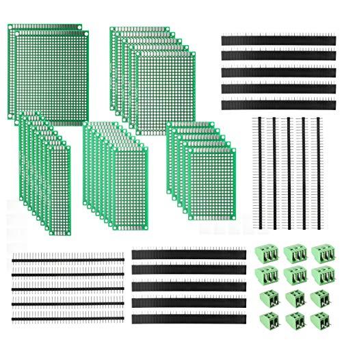 Deyue 60pz PCB perforato: circuiti stampati kit | 28fronte-retro Prototipazione PCB circuito | 20connettore femmina/maschio intestazione pin | 12PCB morsettiera e un Felice DIY