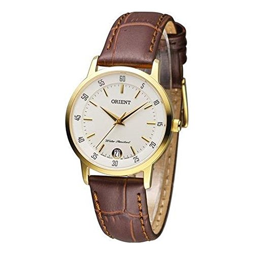 ORIENT WOMEN'S 31MM LEATHER BAND GOLD PLATED CASE QUARTZ WATCH FUNG6003W0