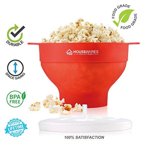 comprare on line Ciotola pieghevole per forno a microonde, in silicone, macchina per popcorn, con coperchio e manici prezzo