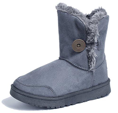 Ageemi shoes donna punta tonda tacco basso pulsante faux neve stivali,eux12 grigio 36