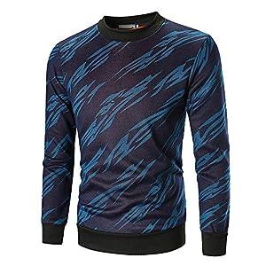 JUSTSELL Langarmshirts Pullover Herren Herbst Winter,Männer 3D-Gestreift-Druck Sweatshirt Rundhalsausschnitt T Shirt Casual Freizeit Herrenbekleidung Tops