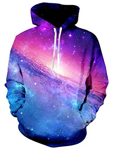 Leapparel Hip Hop Lustige Hoodie für Herren Jungen Beautiful Galaxy 3D Grafik All-Over Print Pullover mit Tunnelzug und Große Kängurutasche und Fleece-Innenfutter