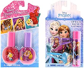 Disney Frozen Beauty Bundles For Kids - 2 Items : Disney Frozen Lip Balm - Single Pack, Disney Princess Nail Polish - Two Pack