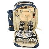 DDDD store Isolierter Picknick-Rucksack für 4 Personen mit komplettem Edelstahlbesteck, geräumigem Kühlfach, Flaschenhalter und großer wasserdichter Matte