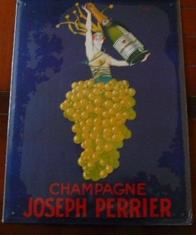 CHAMPAGNE Joseph PERRIER - 40x30cm PLAQUE Métal Publicitaire