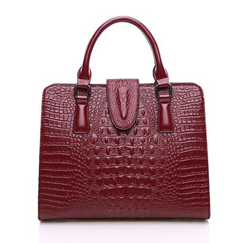 KAXIDY Krokodil Leder Damen Handtasche Schultertasche Tasche Umhängetasche Shopper Henkeltasche (Wein-rot) - Rot Krokodil Handtasche