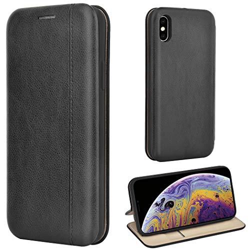 Leaum iPhone XS Hülle, iPhone X Handyhülle Leder Tasche Flip Case für Apple iPhone XS/X