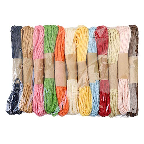Healifty Paper Rope Raffia Cord Twine DIY Colourful Twisted Craft String Strap (Mix Colour, 10 m) -12 Pieces