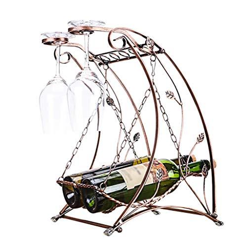 ZBL Swing Weinregal, 2 Flaschen Rotwein Glashalter Weinregal Mode Weinregal Dekoration Becher hä -