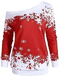 791908374e56c5 Vovotrade ❤ maglione fiocco di neve Natale off-the-spalla, camicia di felpa