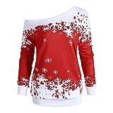 VEMOW Heißer Elegante Damen Frauen Frohe Weihnachten Weihnachtsmann Print Skew Kragen Casual Daily Party Freizeit Sweatshirt Bluse(X1-a-Wassermelonenrot, EU-40/CN-2XL)