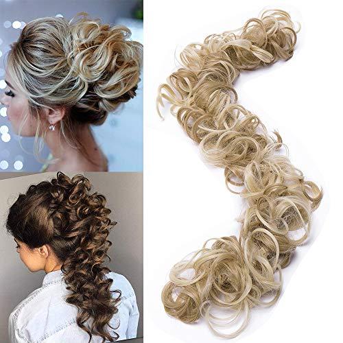 TESS Haarverlängerung Ombre Ponytail Extension DIY Haargummi Haarteil Dutt Synthetik Haare für Haarknoten Zopf Pferdeschwanz Hair Extensions 32