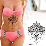 tzxdbh 3pcs-Tatouage Lotus Croquis Fleur Homme Autocollant Tatouage Bikini Tatouage imperméable 3pcs-...