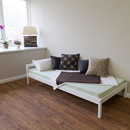Schlafzimmer-futon-rahmen (Homestyle4u Kiefer massiv Rahmen Single Kinder Sofa, Holz, Weiß, 206x 96x 30cm)